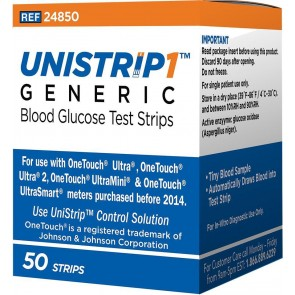 UniStrip1 Glucose Test Strips 50ct - Generic For OneTouch Ultra Meters